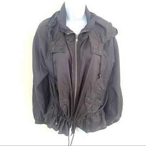 FREE PEOPLE GREY POLYESTER CINCHED HOODED JACKET